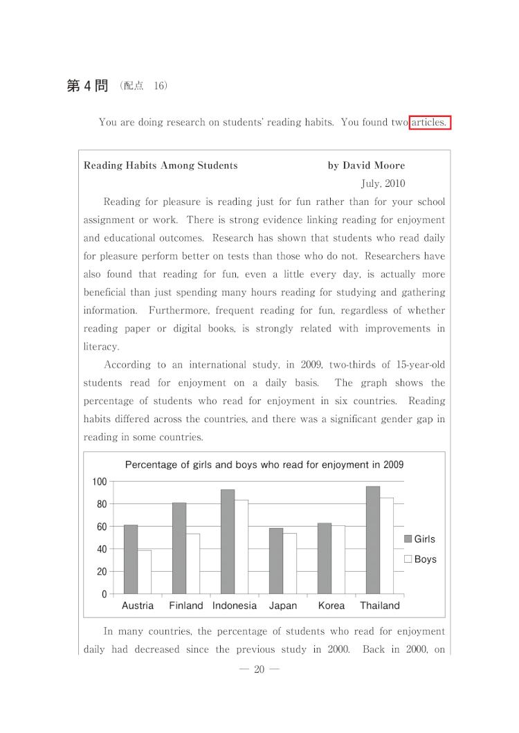 共通テスト英語 H30年度第4問